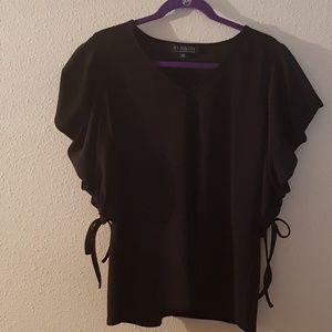 Eloquii draped sleeve v-neck bow top